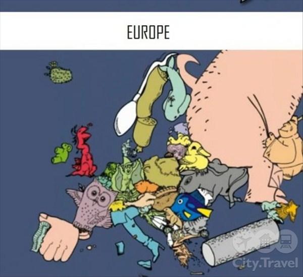Карта Европы в веселых картинках