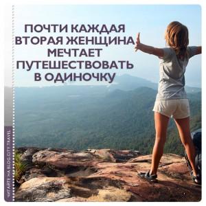 Почти каждая вторая женщина мечтает путешествовать в одиночку